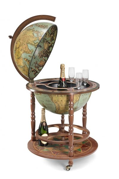Product photo of the large globe liquor cabinet Calipso - laguna, open