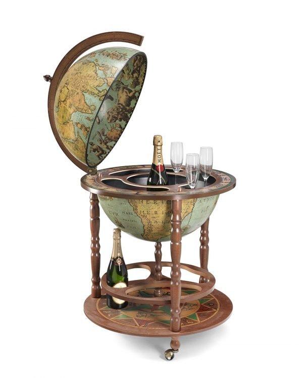 Product photo of the large globe liquor cabinet Calipso - laguna, open