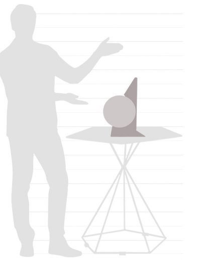 Size chart graphic of the Floating Vela desktop globe