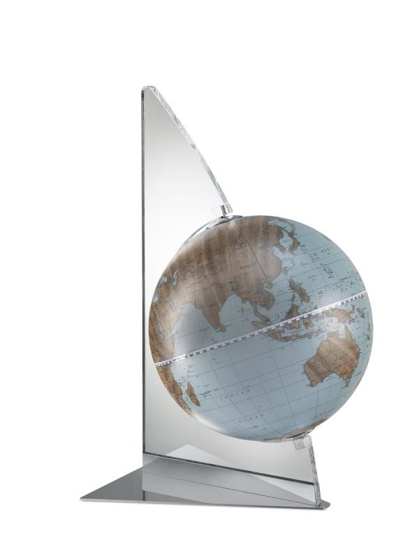 Product photo for the Floating Vela small blue desk globe - sky blue