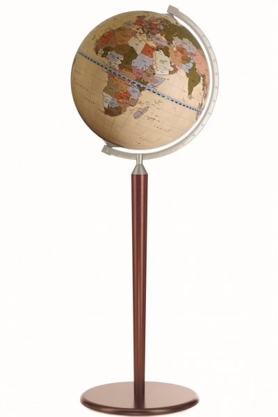 Product photo of the Vasco da Gama Cream World Globe on Sepia Floor Stand