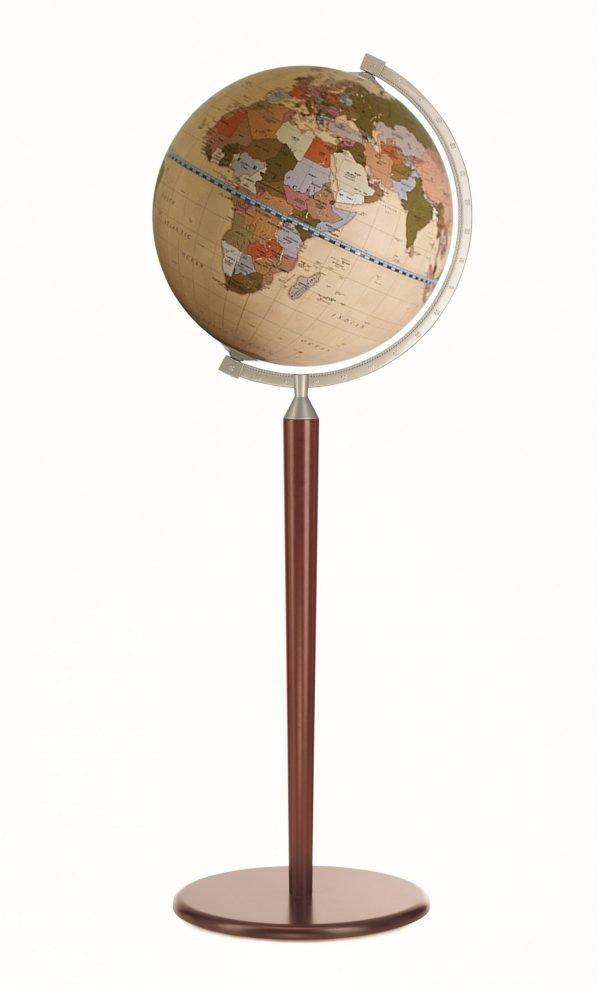 Product photo of the Vasco da Gama Cream World Globe on Sepia Floor Stand