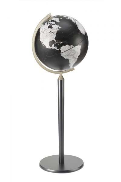 Product photo of the Vasco da Gama Black World Globe on a Black Stand