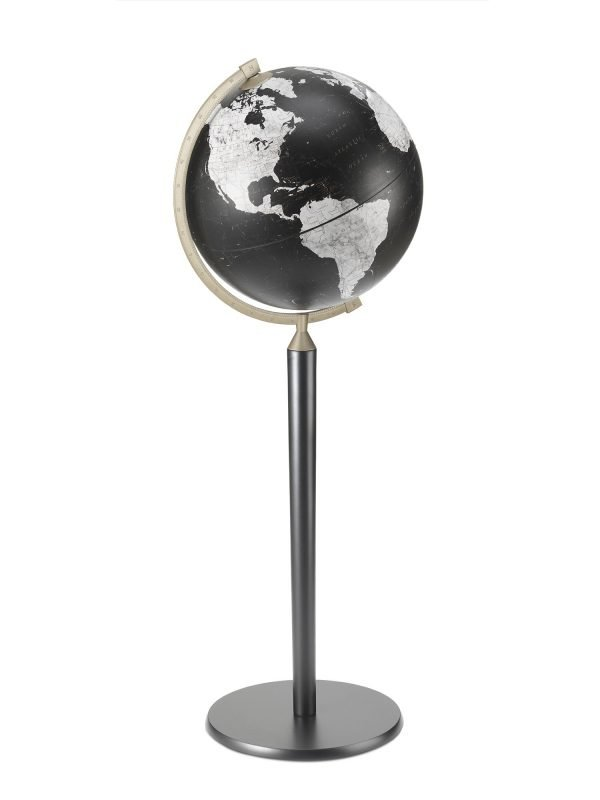 Product photo of the Vasco da Gama Black World Globe on a Black Stand