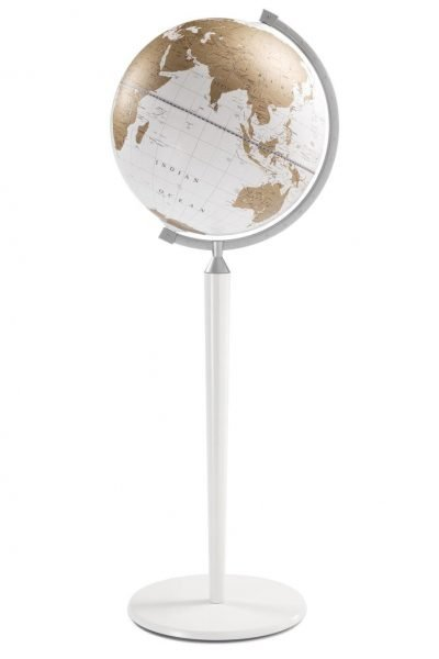 Product photo of the Vasco da Gama White World Globe on a White Stand