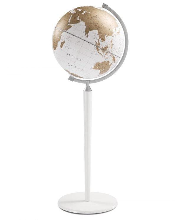 Product photo of the Vasco da Gama White World Globe on a White Stand