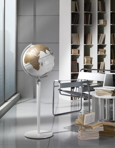 Studio photo of the Vasco da Gama White World Globe on White Floor Stand