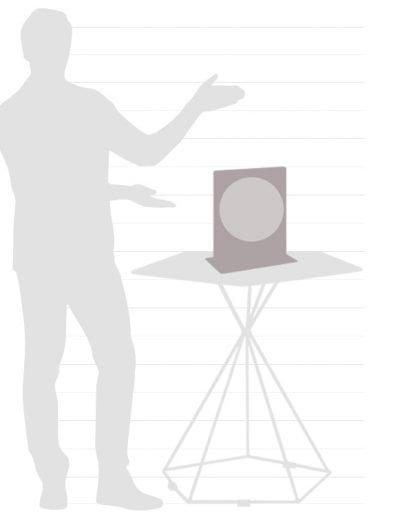 Graphic of Italian Aria desk globe size chart