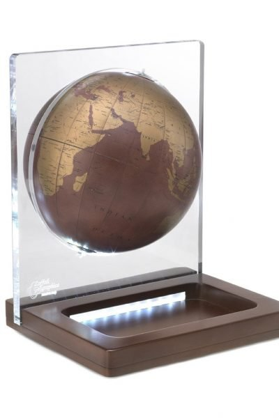 Product photo of Italian Aria leather globe on wooden stand with LED light