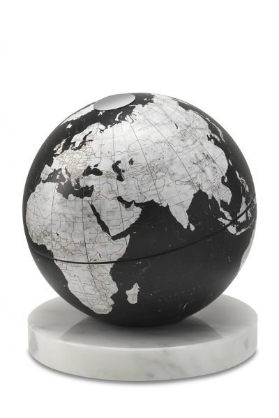 Product photo of black desk globe on alabaster marble base