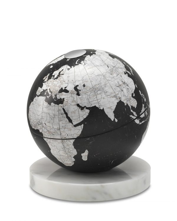 Product photo of black desk globe on alabaster marble base