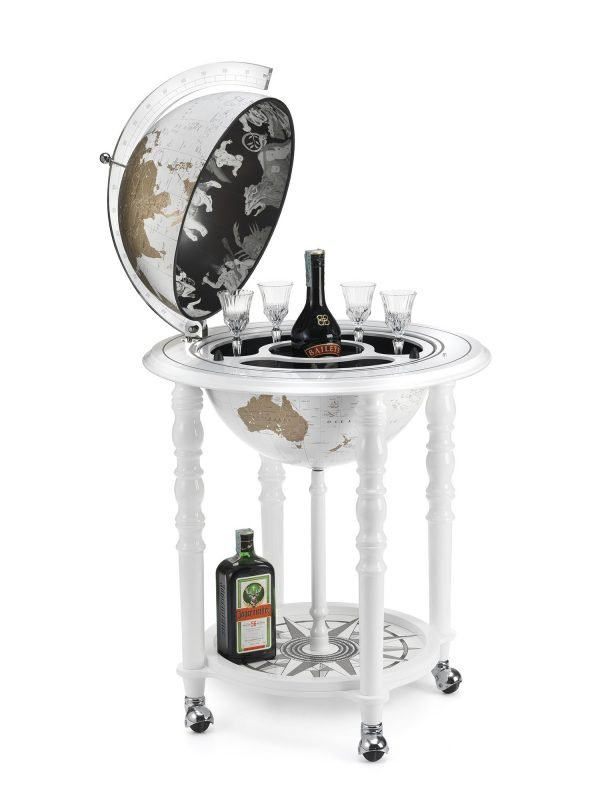 Product photo of the In Vogue Elegance modern globe bar - white, open
