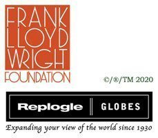 Logos of the Franklin Lloyd Wright Foundation and Replogle for the Franklin Lloyd Wright Collection page