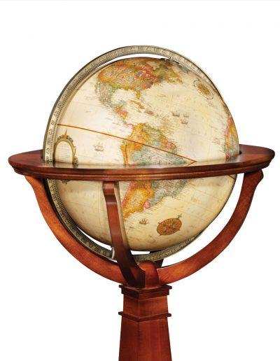 Product photo of The Logan Globe on an Inlaid Pedestal - globe ball close-up