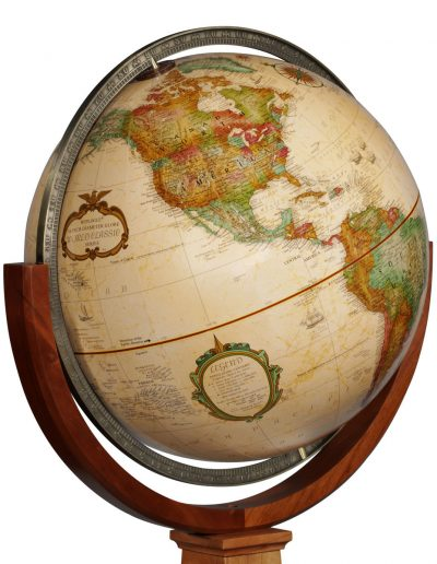 Product photo of the Obelisk Floor Globe by Replogle - globe closeup
