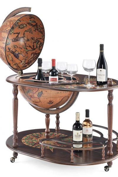 Product photo of the Artemide large globe bar cart - open
