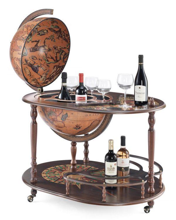 Product photo of the Artemide large globe bar cart - open