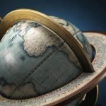 Studio photo of the Cassini Italian Tabletop World Globe - top