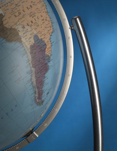 Colombo extra large Italian world globe side closeup photo - light blue