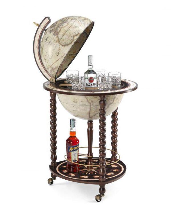 Catalog photo of the Explora Floor Globe and Bar | Antique White - open