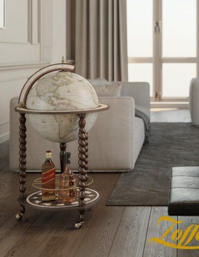 Studio photo of the Explora Floor Globe and Bar | Antique White - closed