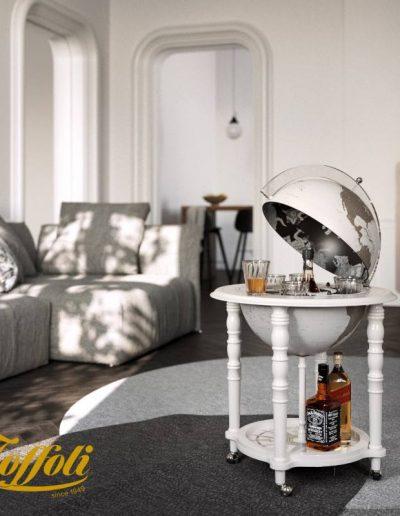 Studio photo of the White In Vogue Elegance Contemporary Globe Bar