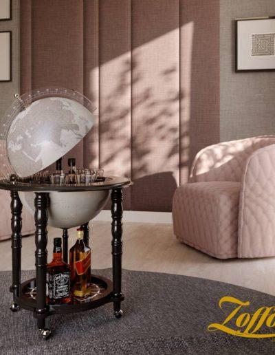 Studio photo of the Black In Vogue Elegance Contemporary Globe Bar