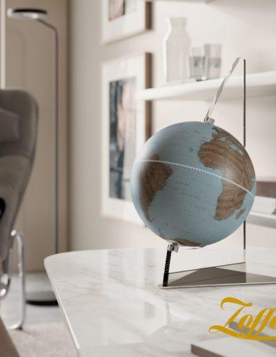 "Studio photo of the Floating Vela Small Blue Desk Globe | 9"" Sky Blue"