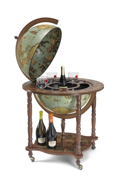 Laguna color Full Meridian Globe Bar Cabinet - large photo - open